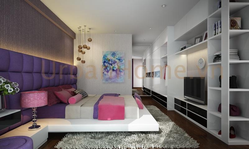 Thiết kế chung cư: Màu tím tạo nên không gian lãng mạng cho 2 vợ chồng
