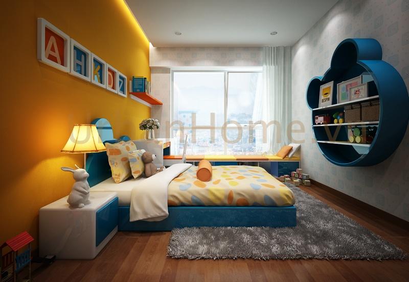 Thiết kế chung cư: Phòng ngủ cho bé với tone màu nổi, tạo sự năng động