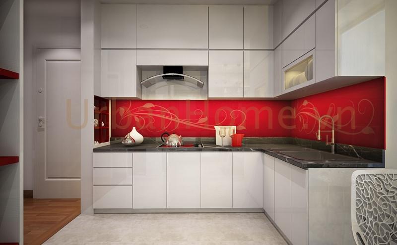 Thiết kế chung cư: Phòng bếp được thiết nổi bật với tone màu đỏ