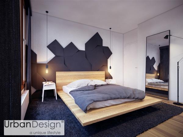 Đèn và gương đứng mang lại nét quyến rũ đầy nam tính, hiện đại cho căn phòng
