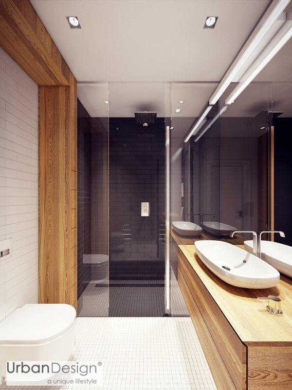 Gạch lát sàn phản chiếu và bồn rửa hiện đại là yếu tố thiết kế tuyệt đẹp